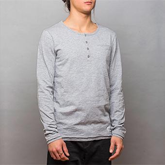 Bamboo LS Henley Shirt - Gråmelerad