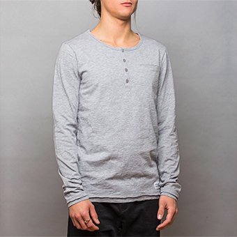 Bamboo LS Henley Shirt - Grey Melange