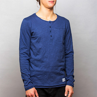 Bamboo LS Henley Shirt - Dark Navy Blue