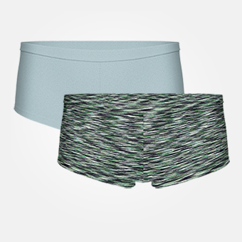 2-pack Women's Bamboo Boxer - Tourmaline/Space Grey Grön