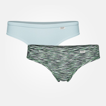 2 -pack Women's Bamboo Hiphugger -Tourmaline/Space Grey Green